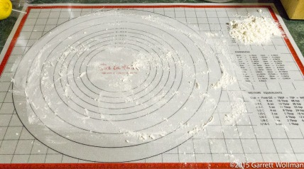 Pastry mat prepared for rolling dough