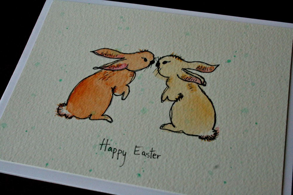 Easter card bunnies close